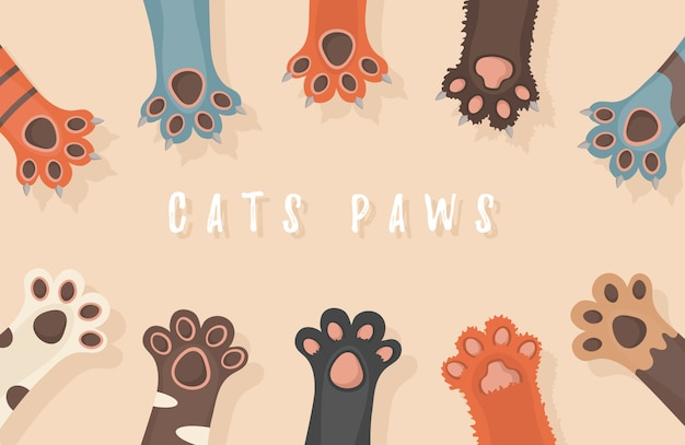 Cat and dog paws, background, prints, cartoon, cute animals legs wallpaper. brochure, flyer, postcard. paws up animals isolated on white background.   illustration in flat design.