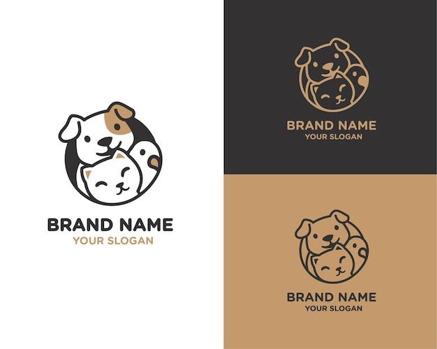 Cat and dog pet store logo