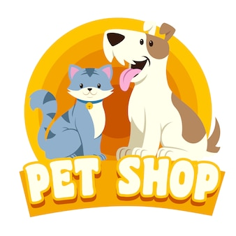 Cat & dog petshop logo