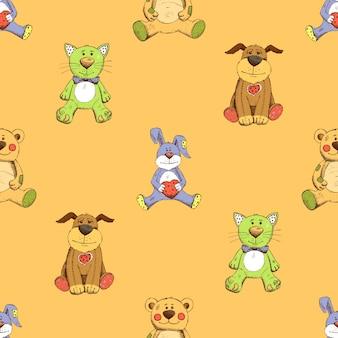 Motivo di sfondo di gatto, cane e coniglio. cucciolo, gattino e coniglio.