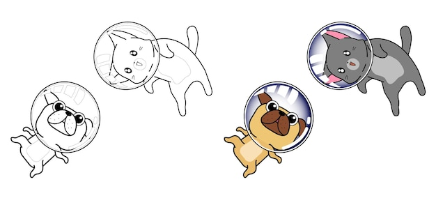 Cat and dog in space cartoon coloring page for kids