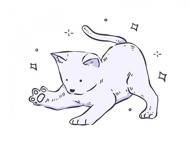 Кошка каракули. кот иллюстрация