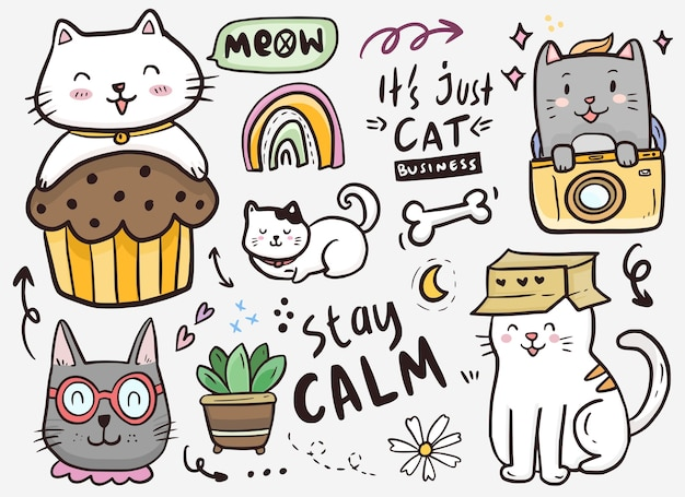 Cat doodle drawing collection with card box and cupcake illustration