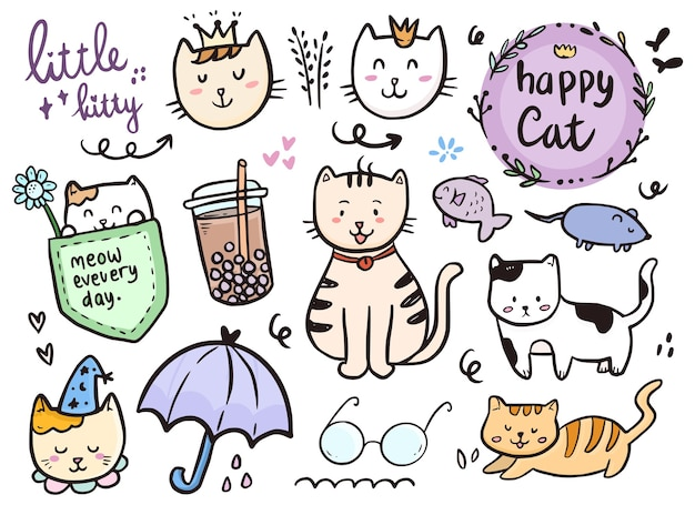 Cat drawing doodle collection with boba drink and umbrella icon
