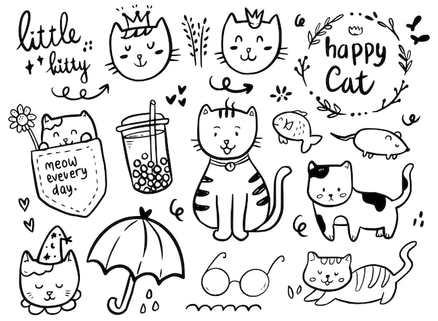Cat drawing doodle collection with boba drink