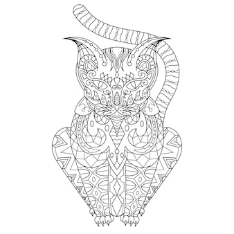 Cat drawn coloring page