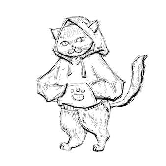 Cat dressed in the hoodie. vintage monochrome hatching