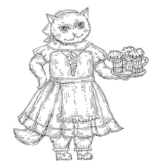 Cat dressed in national bavarian clothes and holding beer glass. vintage vector black hatching illustration isolated on white. hand drawn design for oktoberfest festival.