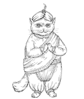 Cat dressed in national indian clothes and turban. vintage vector monochrome hatching illustration isolated on white background. hand drawn design for t-shirt, poster and web