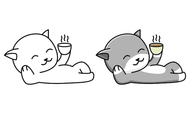 Cat drink coffee coloring page for kids