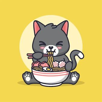 猫がラーメンを食べるかわいいイラスト