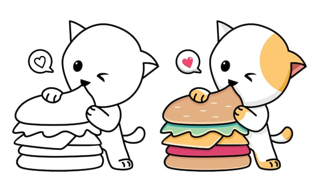 Cat eating burger coloring page for kids