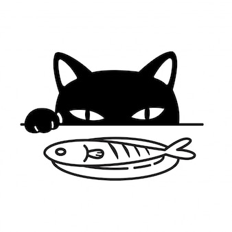 Cat eating fish cartoon