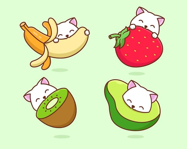Кошка ест фрукты иллюстрации