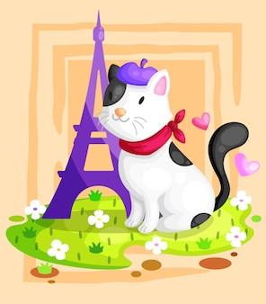 Cat at eiffel tower illustration