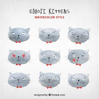 Cat emoticons in watercolor style Premium Vector