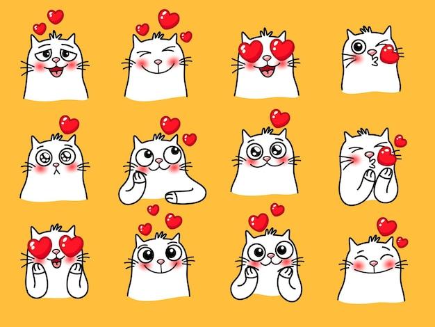 心のある猫の絵文字。家を愛する動物の漫画のかわいい感情、黄色の背景に分離された面白いペットと絵文字のベクトルイラスト