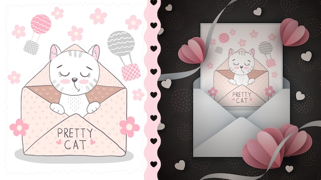 Cat in envelope - idea for greeting card.