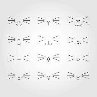 猫の表情。猫顔。シンプルなデザイン。黒と白。ベクトルイラスト。