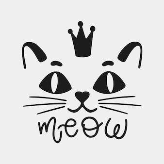 Кошка лицо животного с короной и надписью мяу. силуэт черный логотип, изолированные на белом фоне. милый котенок вискер знак. векторные иллюстрации