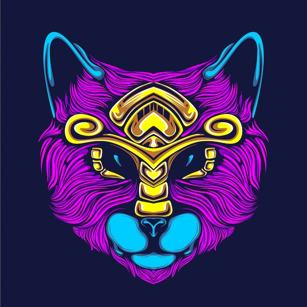 Cat face artwork illustration