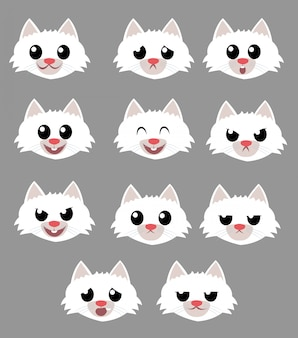 Cat face emotions pack