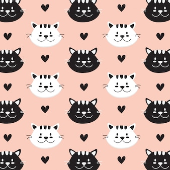 Cat face hand drawn style pattern