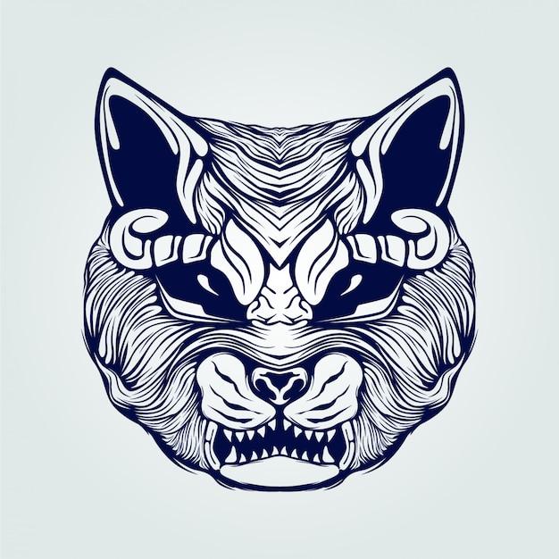 Кошка лицо линии искусство открытый рот