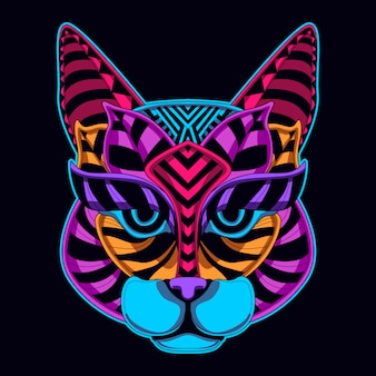 Cat face neon color