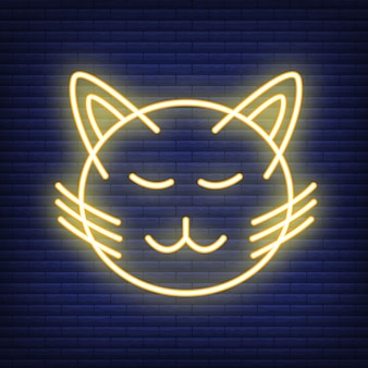 Cat face neon icon. concept for healthcare medicine and pet care. outline and black domestic animal. pets symbol, icon and badge. simple vector illustration on dark brickwork.
