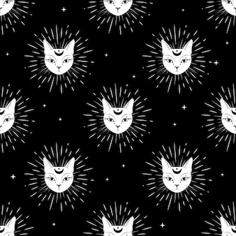 Cat face with moon on night sky seamless pattern background.