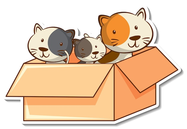 Membri della famiglia di gatti nell'adesivo della scatola