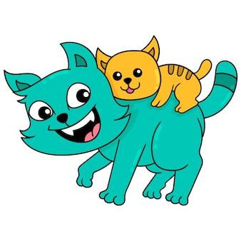 Семья кошек с отцом и сыном, играя, искусство иллюстрации вектора. каракули изображение значка каваи.