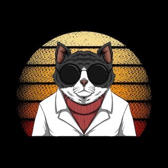 猫ファッションサンセットレトロ