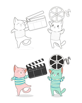 Cat and film cartoon coloring page for kids