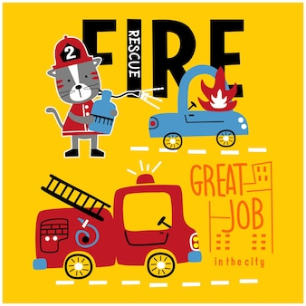 Cat the fire rescue funny animal cartoon