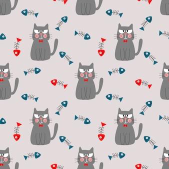 Cat and fishbone seamless pattern
