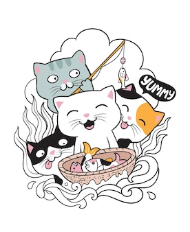 Cat fishing doodle Premium Vector