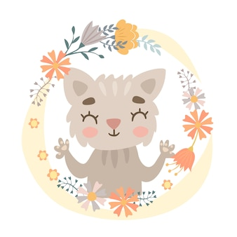 Cat in a flower wreath