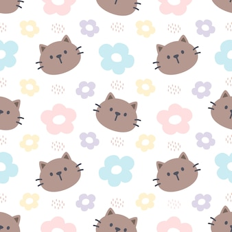 Cat and flowers seamless pattern background