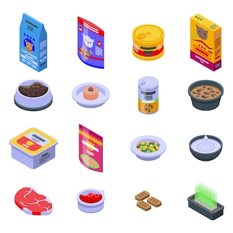Набор иконок кошачьей еды. изометрические набор иконок кошачьей еды для интернета, изолированные на белом фоне