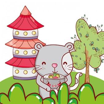 Cat and food kawaii cartoons