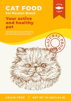 Cat food label template abstract vector packaging design layout modern typography banner