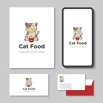 Логотип кошачьей еды и значок векторные иллюстрации с шаблоном мобильного приложения