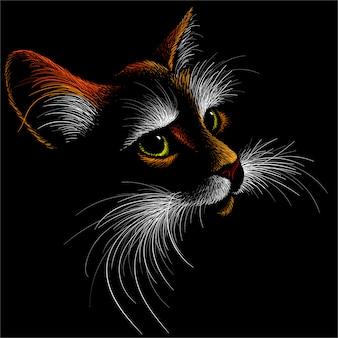 Кот для татуировки или дизайна футболки или верхней одежды. симпатичный принт в стиле кот.