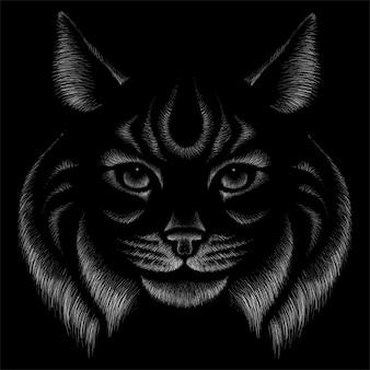 Кот для татуировки или дизайна футболки или верхней одежды. милый кот стиль