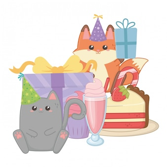 Cat and fox in happy birthday celebration