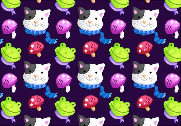 Cat frog mushroom seamless pattern