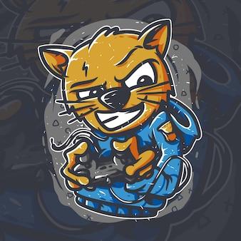 Кошка геймер произведение искусства