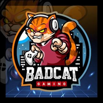 猫のゲームマスコットeスポーツロゴデザイン